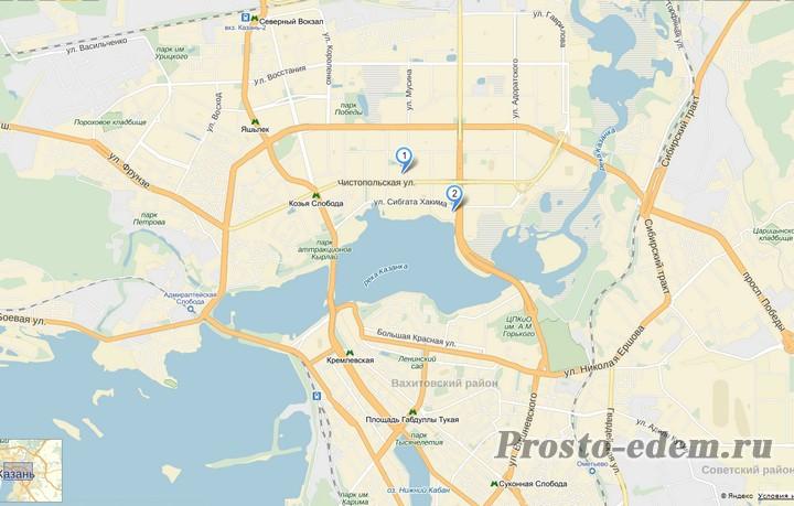Нажмите на карту для увеличения. Метка №1 - Мусина, 9. Метка №2 - аквапарк Ривьера