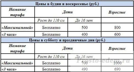 Цены в аквапарке Барионикс в казани
