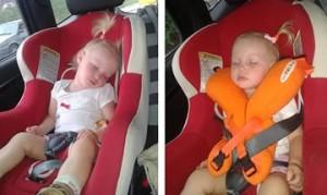 ребенок с подушкой в машине и без нее