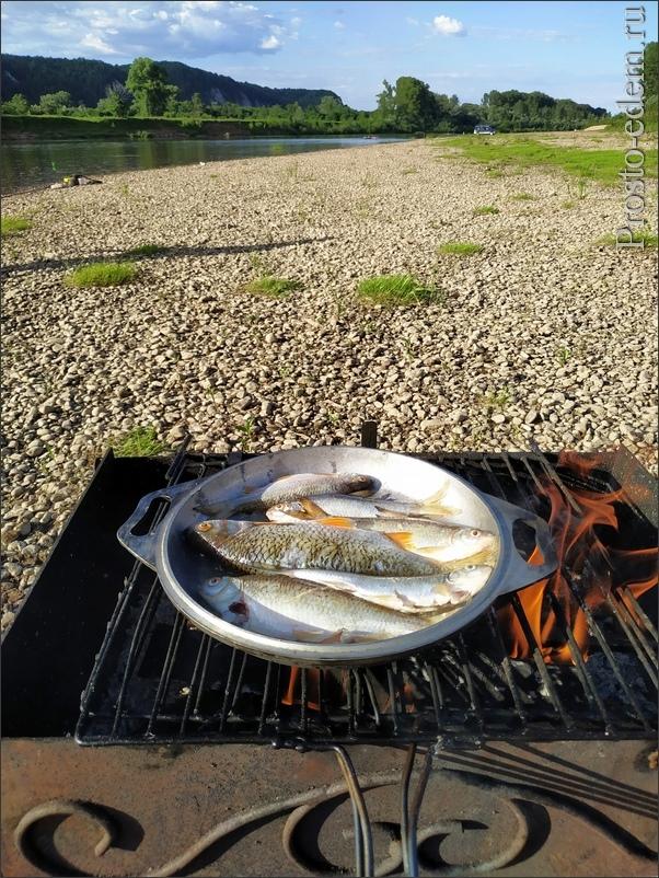 Жареная рыба на костре
